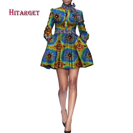 2020 African Clothes for Women Dashiki African Bazin Riche Sexy Long-Sleeve Butterfly Tie Mini Dress for Party WY7526