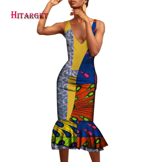 2020 African Clothes for Women Dashiki African Bazin Riche Sexy Sleeveless V Neck Sling Long Mermaid Wrap Dress for Party WY7467