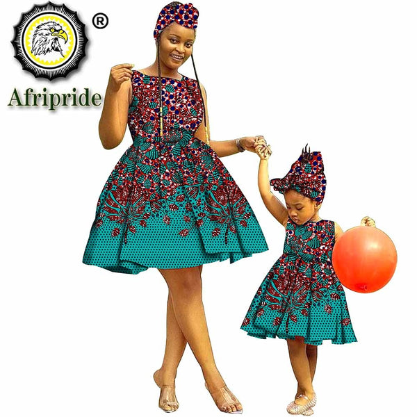 2020 African Dresses+Headwarp for Women Dashiki Dress for Girl Ankara Fabric Mother and Daughter Clothing Print AFRIPRIDES19F001