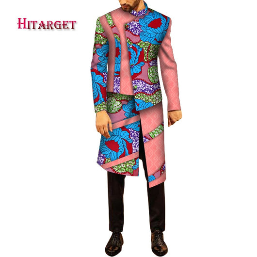 2020 African Men Clothes Cotton Dashiki Men Long Sleeve Top Long Shirts  African Traditional  Bazin Riche Men Robes WYN1087