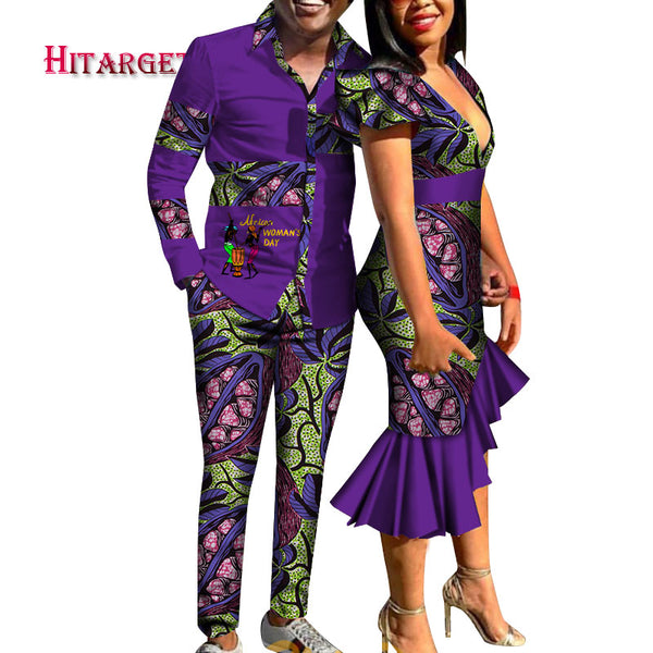 2020 African Print Clothes for Couple Dashiki Deep V Tight Mermaid Dress and Men Shirt Pant Set Cotton African Clothing WYQ454