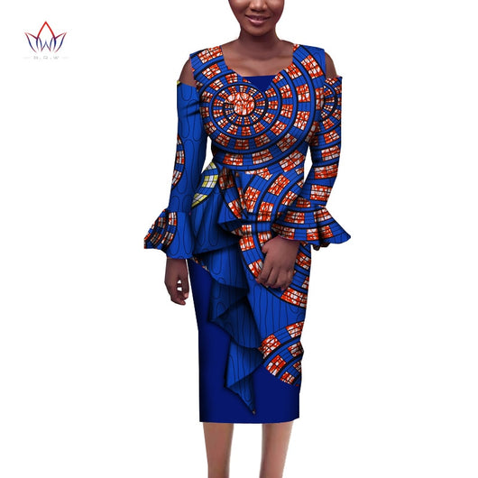 2020 African Print Dresses For Women Cotton Mid-dress Dashiki Women Traditional Elegant Clothing African Wear For Ladies WY7070