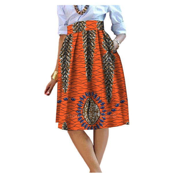 2020 African Style Garment Skirt Traditional Clothing for Women Female Wax Print Dashiki Dress Fashion Casual Cotton Maxi Skirt