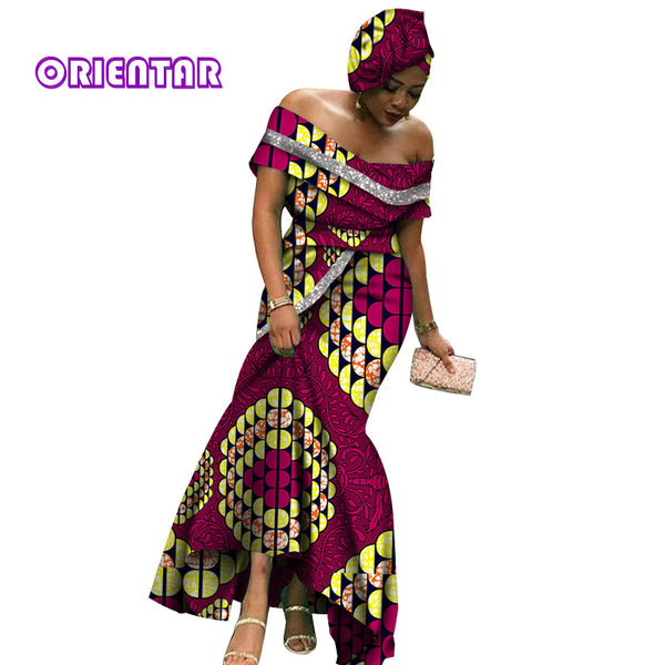 2020 Fashion African Dresses for Women Glittering Slash Neck Ankara Long Dress African Print Women Party Evening Dress  WY6396