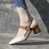 2020 Fashion Square High Heel Mary Jane Style Buckle Decoration Party Wedding Office Shoes Cow Leather Pointed Toe Woman Pumps