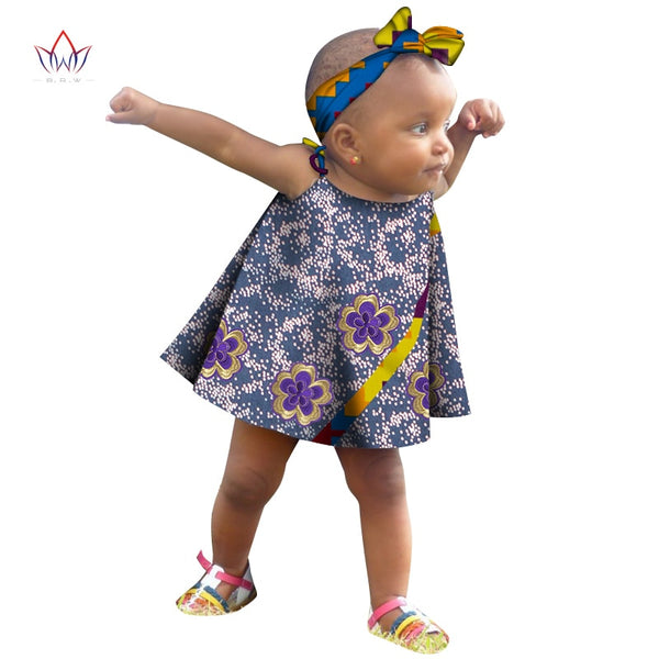 2020 Girls African Clothing Children Bazin Riche Dashiki Fashion Cute Dresses Printed Dress For Baby Sleeveless WYT503