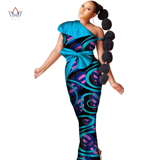 2020 NEW African Dresses For Women Fashion Design Dashiki Women Bazin Riche Long Dress Ankle-length Plus Size Natural 6xl WY6631