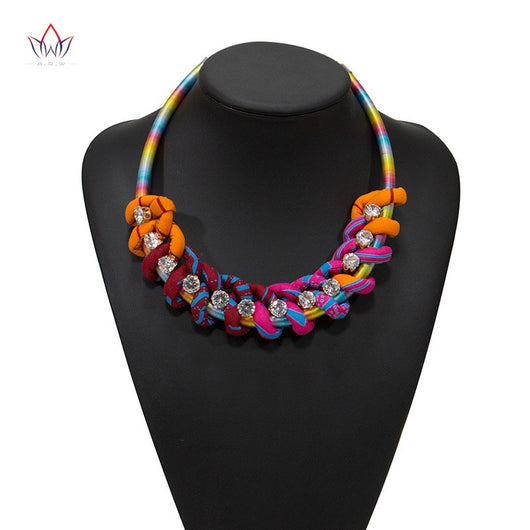 2020 NEW Ankara Print Necklace African Ethnic Handmade Jewellery African Fabric Jewellery For Women Chains necklace WYB548