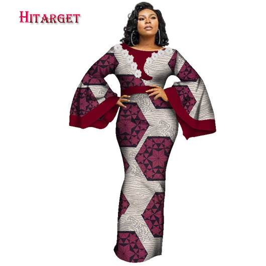 2020 New African dDesses for Women Africa Print Dresses Dashiki Women Bazin Riche Long Dresses Plus Size Ankara Dresses WY3241