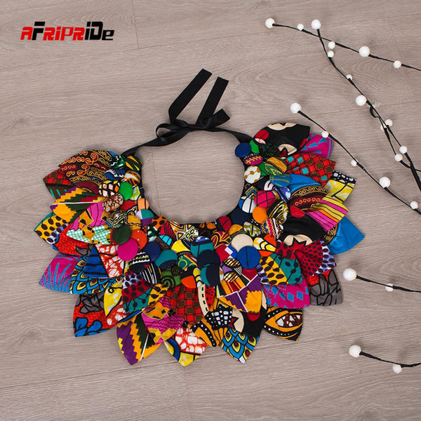 2020 New Ankara Button Bib Button Earrings Statement neckpiece Tribal Necklace Handmade Flower Shape African Jewelry SP135