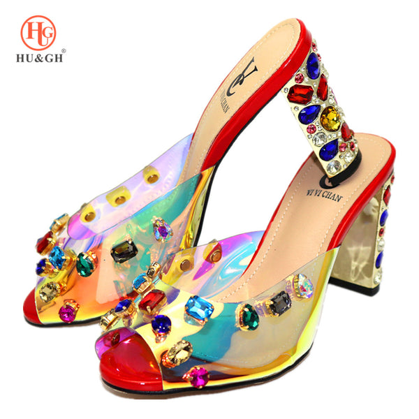 2020 New High Quality Red African Women Sandals Italian Woman Slipper Shoes Crystal Wedding Dress High Heels Shoes For Party