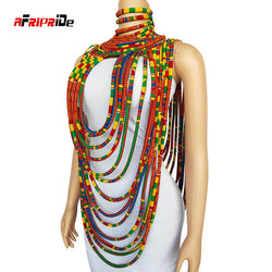 2020 New Trend Afripride Ankara Multi Strands Necklace African Bold Colorful Long Exotic Jewelry Africa Handmade Necklaces SP001