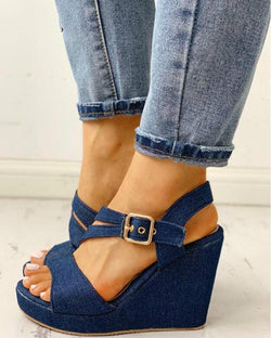 2020 New Women Wedges Sandals Summer Blue Platform Sandals Women Casual Shoes High Heel Sandalias Mujer Zapatos De Mujer