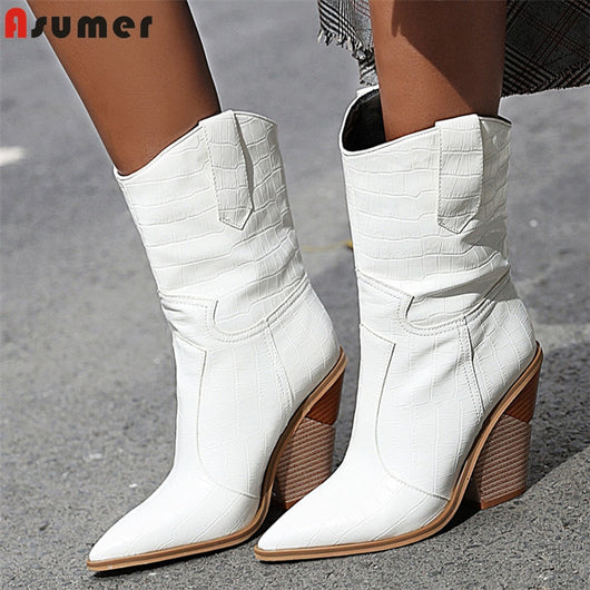 2020 Plus size 34-48 New women boots autumn winter shoes thick high heels ladies short western boots fashion ankle boots female