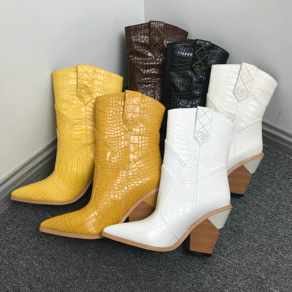 2020 Pointed Toe Ankle Boots for Women Autumn Winter Western Cowboy Boots Women Wedge High Heel Boots White Black Yellow Boots