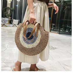 2020 Round Straw Bags Women Bohemian Summer Casual Handmade Woven Circle Rattan Beach Handbags Female Fashion Straw Shoulder Bag