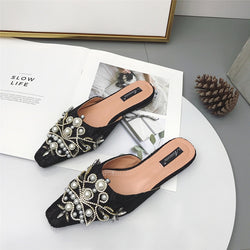 2020 Summer Women Mules Shoes Luxury Rhinestone Black Shallow Home Slippers Flats Outside Woman Slipper Flip Flops High Quality
