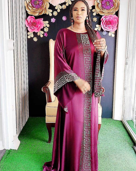 2020 Traditional Fashion Satin Silk boubou African women Long maix dresses Quality polyester Dashiki Abaya Muslim Dresses for women