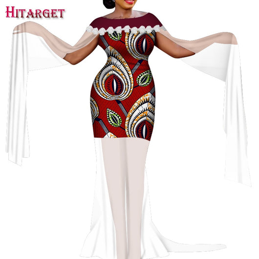 2020 Women Clothing Africa Bazin Riche Round Neck Stitching Sheer Short Dress Dashiki One-piece African Clothes for Party WY7572