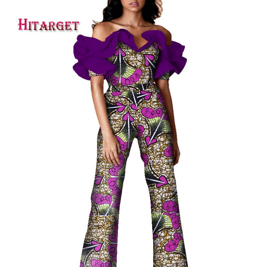 2020 Women Clothing Africa Rompers Jumpsuit Bazin Riche Out Off Shoulder Long Pant for Women Dashiki High Waist Bodysuit WY7567