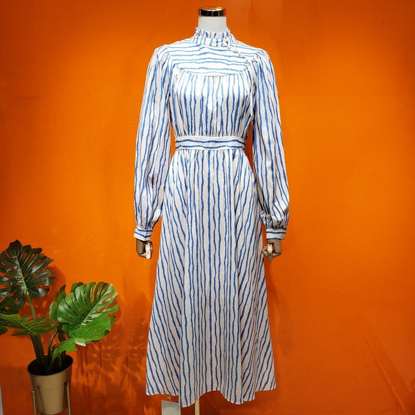 2020 new heavy industry high collar blue and white stripes were thin high waist swing spring long-sleeved dress women 0228