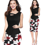 2020 spring and summer women sleeveless v-neck polyester printing plus size knee-length dress S-3XL