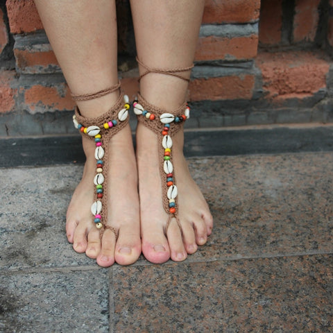 2pcs Handmade Knitted Natural Shell Lace Anklet Summer Women Ankle Foot Jewelry Bohemian Barefoot Sandals Anklets Wholesale