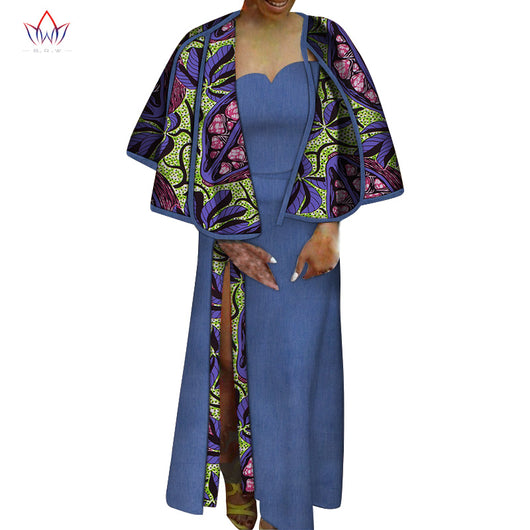 2pcs Set Shawl and Dresses for Women Party Wedding Casual Date Dashiki African Women Dresses African Dresses for Women WY6041