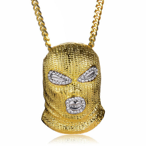 3 Color Punk Style Personalized Head Masked Big Pendant Necklaces Hip Hop Jewelry Steampunk Gold Long Chain Statement Necklace