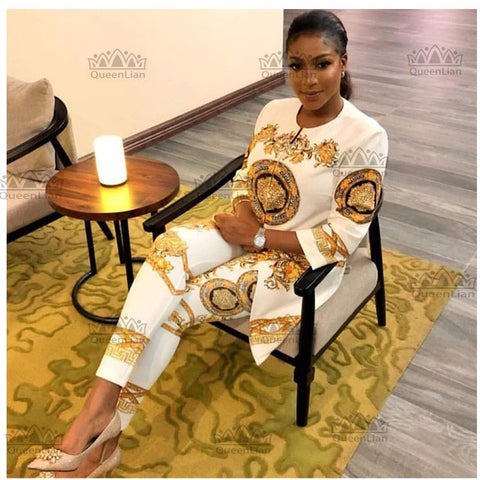 3 Colors (L-4XL) New African Print Elastic Bazin Baggy Pants Rock Style Dashiki Sleeve Famous Suit For Lady