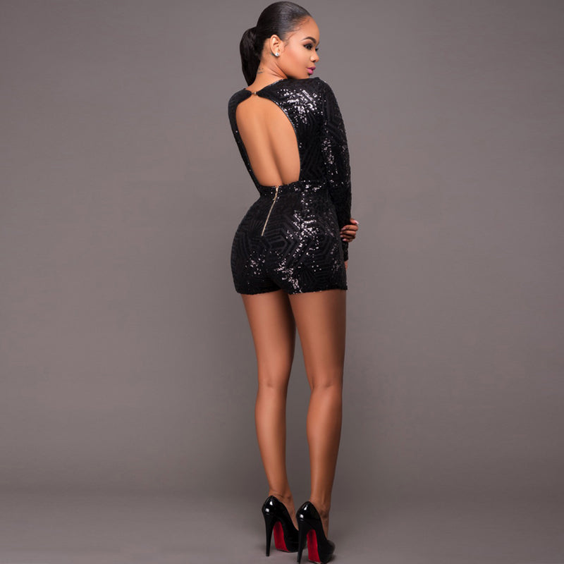 aab017cc89a ... 3 Colors Sequin Jumpsuit Playsuits Women Deep V Neck Long Sleeve Rompers  Sexy Short Club Party ...