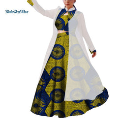 3 Pieces African Applique Top and Skirts Sets for Women Bazin Riche Traditional African Women Clothing Skirts Sets WY4221