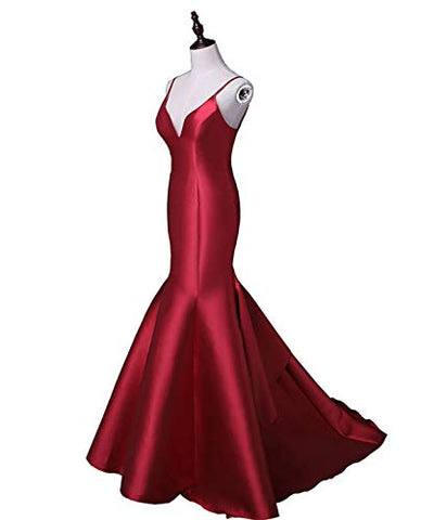 Women's Spaghetti Straos Mermaid Trumpet Prom Evening Dresses Formal Celebrity Party Gowns Sweep Train Grape