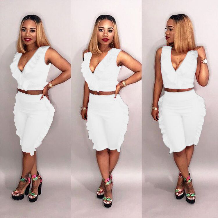 c5bb1e0ed4f ... 3XL Sexy women set two pieces 2018 summer new fashion ruched V-neck 5  colors ...