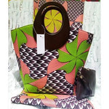 (3pcs/set)6yards pink hand bag with dutch wax fabric and african prints purse  african fashion textile Mar-8-2018
