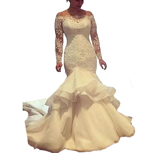 0063e36d8a Vintage Mermaid Wedding Dress 2018 Lace Applique Off Shoulder Bridal Gowns  Long Sleeves Plus Size Wedding Gown at Amazon Women s Clothing store
