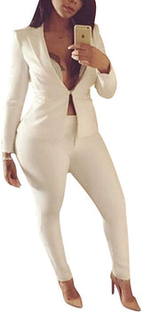 Womens 2 Piece Outfits Long Sleeve Solid Color Blazer with Pants Casual Elegant Business Suit Sets