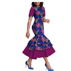 African Ankara Print Women Dress Short Sleeve Mid-Calf Length 3 Layers Trumpet 100% Batik Cotton Made AA1825080 at Amazon Women's Clothing store: