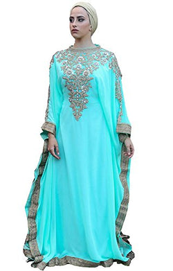 Royal Bliss Kaftan For Women-Long Sleeve Maxi Dress, Gown Formal Lounge Wear (Sea Green), FREE SIZE