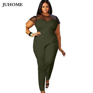 be4c5bb4 4XL 3XL plus size Women Slim LONG Jumpsuits 2018 New Summer short sleeve Romper  Female Sexy