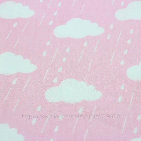 4pcs/lot 40cm*50cm Cartoon Clouds Raindrops Cotton Fabric for Home Textile Bedding Quilting Star wave sewing Patchwork fabric