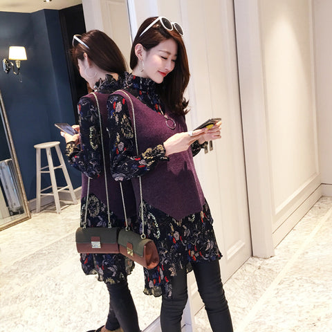 4xl plus big size women set clothing spring autumn summers 2017 new cloth vest chiffon print dress two pieces suits female Y0186