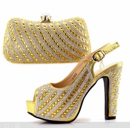 68a982ef6c8 5 inches high heel sandal shoes and bag clutches to match in african women  party with ...