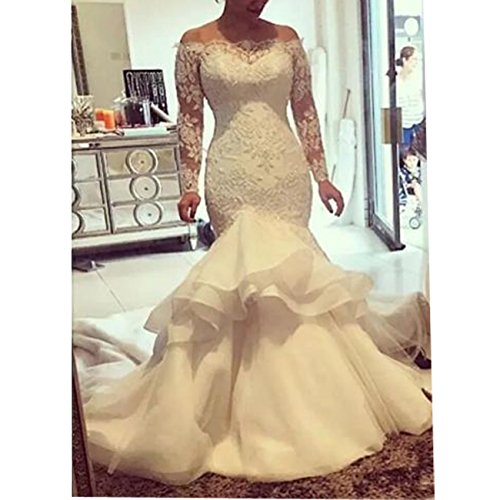 Vintage Mermaid Wedding Dress 2018 Lace Applique Off Shoulder Bridal Gowns  Long Sleeves Plus Size Wedding Gown at Amazon Women's Clothing store: