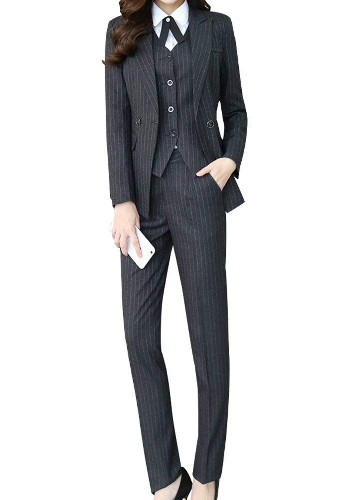 online sale Good Prices best shoes Women's There Piece Office Lady Stripe Blazer Business Suit Set Women Suits  for Work Skirt and Jacket