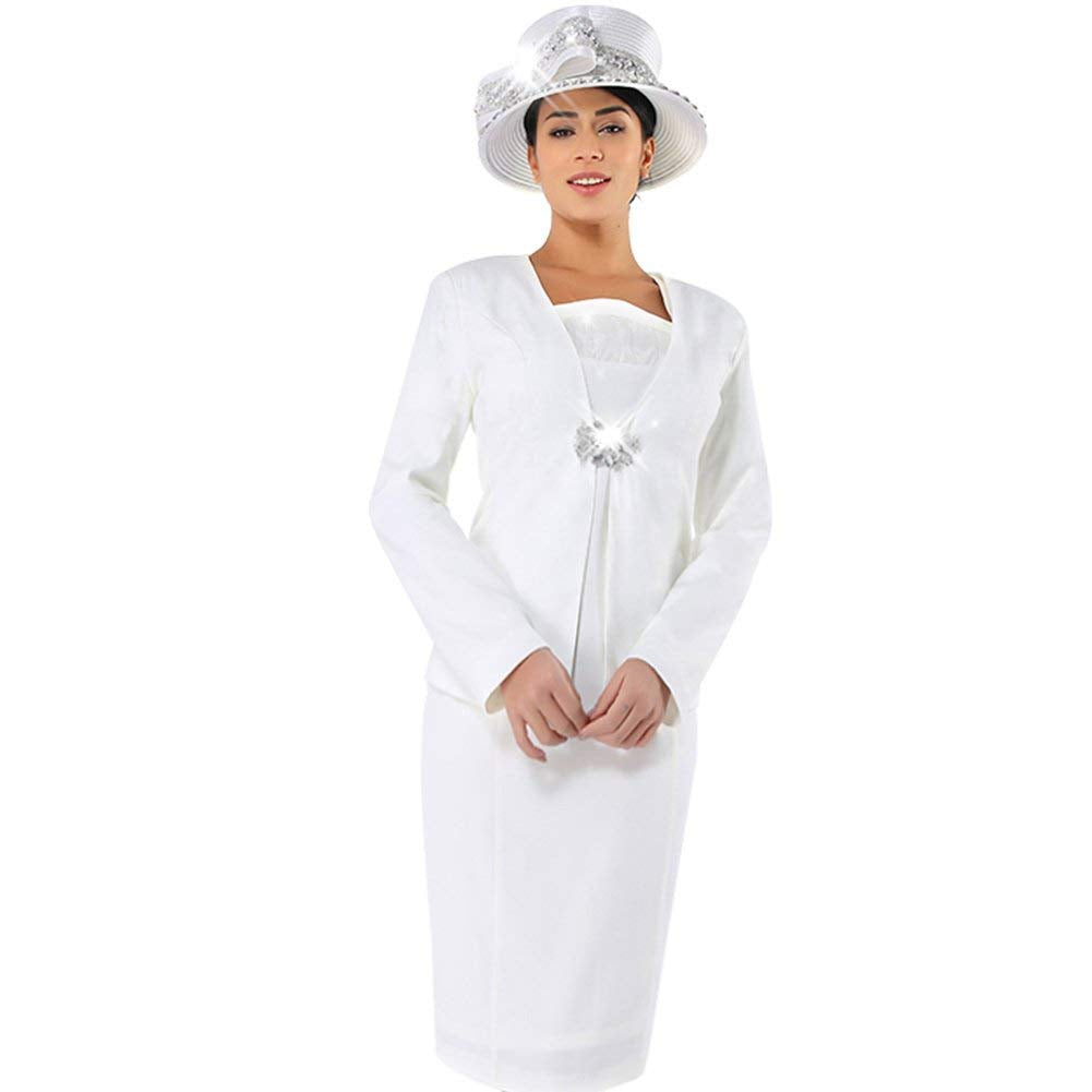 ... Kueeni Women Church Suits with Hats Church Dress Suit for Ladies Formal Church  Clothes Off White ... cd665c4c6e24