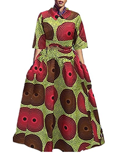 d0e2044022c4ee Womens African Print Dashiki Dress Long Fit and Flare Crop Top Skirt  Outfits Maxi Dress with ...
