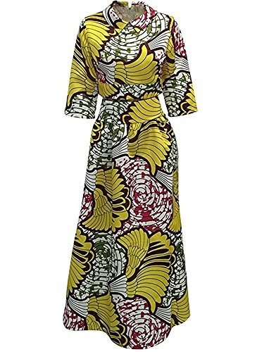 c665db24bc4cfb ... Womens African Print Dashiki Fit and Flare Crop Top and Long Skirt  Outfits Maxi Dress with ...