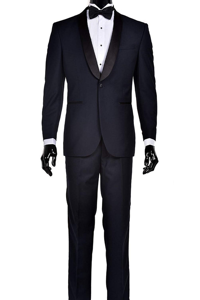 Modern Luxury Prom Suits (38 Regular, Navy Blue with Black Shawl Lapel with  Matching Navy Pants)