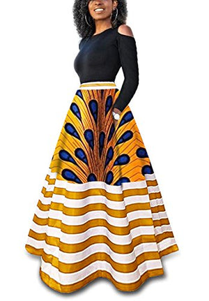 bc1ed6a2dffe Women's Dashiki African Print Skirts Boho High Waist Color Striped A-Line  Maxi Skirt with ...